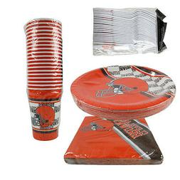New NFL Cleveland Browns 80pc Paper Plates Cups Forks Napkin