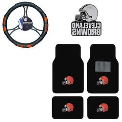 New NFL Cleveland Browns Car Truck Floor Mats Steering Wheel