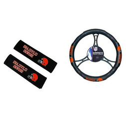 New NFL Cleveland Browns Car Truck Steering Wheel Cover Seat