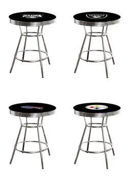 NFL Bar Pub Table Chrome Black Top with Football Team Logo G