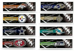 "NFL Bling Bumper Sticker 3""x12"" - Pick Team"