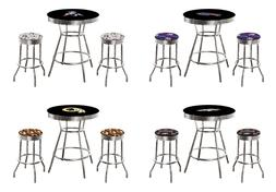 NFL Chrome and Black Bar Table with Team Logo and 2 Backless