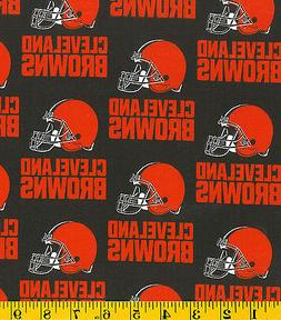NFL CLEVELAND BROWNS 100% COTTON FABRIC   BY THE 1/4 YARD