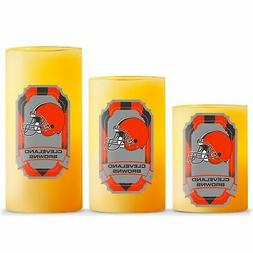 Duckhouse NFL Cleveland Browns 3-Piece LED Candle