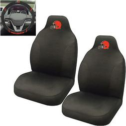 NFL Cleveland Browns Car Truck 2 Front Seat Covers & Steerin