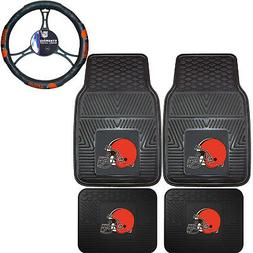 NFL Cleveland Browns Car Truck Rubber Floor Mats & Steering