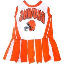 "NFL Cleveland Browns Cheerleader Pet Dress; XS Fits 6""- 8 1/"