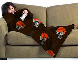 NFL Cleveland Browns Youth Size Comfy Throw Blanket with Sle