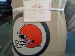 Pottery Barn Teen NFL duvet Full  Queen stone Cleveland Brow