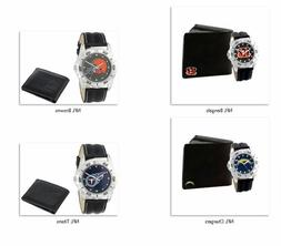 NFL Men's Watch and Black Leather Wallet Set by Game Time -S