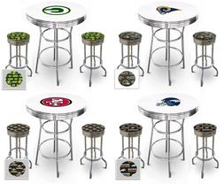 NFL Themed White Bar Table Set with Glass Option Game Room I