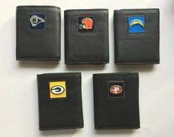 NFL TRI-FOLD LEATHER WALLETS IN GIFT BOX