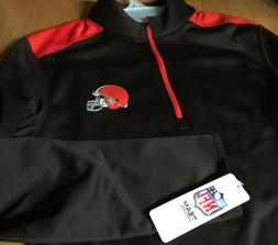 NWT new CLEVELAND BROWNS NFL 1/4 Zip PULLOVER Fleece Lined J