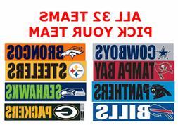 PICK TEAM, or SET of NFL BUMPER STICKERS LARGE VINYL HIGH QU