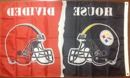 Pittsburgh Steelers Cleveland Browns 3'x5' House Divided Ban