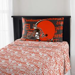 Cleveland Browns Sheet Set NFL Twin Bed Fitted Flat Sheets B